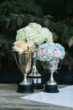 trophy cup centerpieces | Lang Thomas #wedding