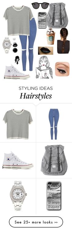 """Read The D !!"" by emmacouture2339 on Polyvore featuring Topshop, Chicnova Fashion, Converse, Herschel, Illesteva, Rolex and LORAC"