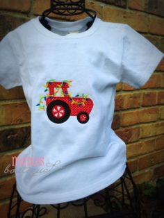 Tractor Holiday Applique Shirt by NoOdLeSBoutique on Etsy, $18.00