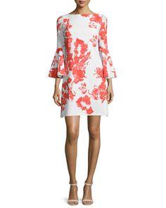 TBLJ6 La Petite Robe di Chiara Boni Bell-Sleeve Floral-Print A-line Dress