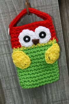 Owl Cell phone camera iPod holder case cozy crochet colors apple green, bright red, yellow and white. $10.00, via Etsy.