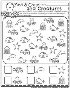 Cute Summer Kindergarten Worksheet - Find and Count the ocean creatures. - - Cute Summer Kindergarten Worksheet – Find and Count the ocean creatures. Cute Summer Kindergarten Worksheet – Find and Count the ocean creatures. Preschool Worksheets, Preschool Learning, Kindergarten Activities, Camping Activities, Preschool Ocean Activities, Beach Theme Preschool, Preschool Ideas, Teaching Art, Summer Worksheets