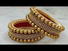 Silk Thread Bridal Pearl Stone Kada/Bangle making at home Silk Thread Bangles Design, Silk Bangles, Silk Thread Earrings, Gold Bangles Design, Bridal Bangles, Thread Jewellery, Jewelry Design, Fabric Jewelry, Handmade Jewellery
