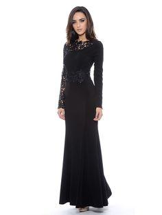 Sheath Column Scoop Chiffon Floor-Length Long Sleeves Applique Dresses at  HerDress Online 7096082036f