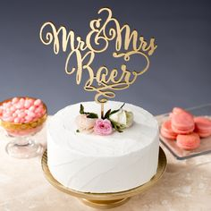 Wedding Cake Topper Custom Last Name by BetterOffWed on Etsy
