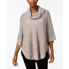 Karen Scott Cable-Knit Poncho Sweater, Created for Macy's ($37) ❤ liked on Polyvore featuring tops, sweaters, gull marl, brown poncho, karen scott, cable knit poncho, style poncho and cable poncho