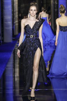 Zuhair Murad Spring 2017 Couture: I like the asymmetrical detail on the neckline. I like the pop of blue!