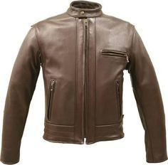 Made In Usa Brown Thick Leather Racer Motorcycle Biker Jacket Pistol Pockets Brown Bison Leather 56 Tall - Brought to you by Avarsha.com