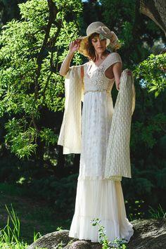 Vestido crochet y tul bordado. Foto: Ale Prieto-