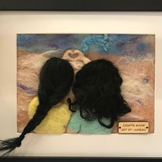 Friend forever Needle felted Wool Painting, handmade gift , interior decor, home decor