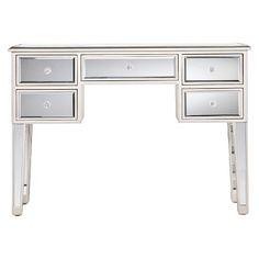 Tobias Mirrored Desk Silver   Southern Enterprises : Target