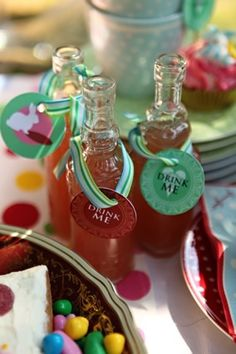 "An Alice in Wonderland Mad Tea Party: Hang ""Drink Me"" Signs on Bottled Beverages by Megan Cooley 