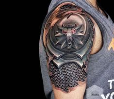 Witcher armor tattoo by Pasha Tarino Awesome black and red realistic tattoo style of Witcher game armor motive done by tattoo artist Pasha Tarino Hand Tattoos, Schulterpanzer Tattoo, 3d Tattoos For Men, Norse Tattoo, Viking Tattoos, Body Art Tattoos, Sleeve Tattoos, Samoan Tattoo, Polynesian Tattoos