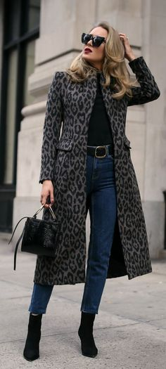 Best black bootie styled two ways! // Long black and grey leopard coat, black turtleneck, high-waisted dark wash denim with a raw hem, black suede booties, black leather belt, black embossed bag, black sunglasses, berry lip {Tamara Mellon, Le Specs, Smyth