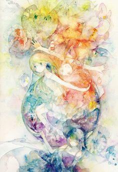 「彩花ドレス」/「カイテー」のイラスト [pixiv] Dark Fantasy Art, Fantasy Kunst, Fantasy Artwork, Art Anime, Anime Kunst, Manga Anime, Watercolor Illustration, Watercolor Art, Copics