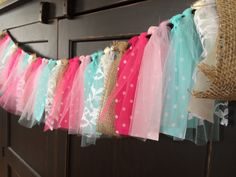 Burlap and Tutus Shabby Chic Rag Tie Fringe Garland, Bunting, Banner, Swag, Backdrop, Photo Prop in Pink and Aqua on Etsy, $36.34 AUD