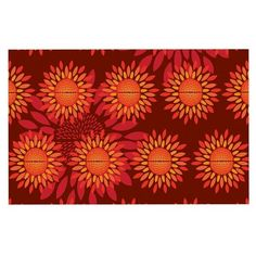 KESS InHouse Yenty Jap 'Sunflower Season' Orange Red Dog Place Mat, 13' x 18' * New and awesome dog product awaits you, Read it now  : Dog food container