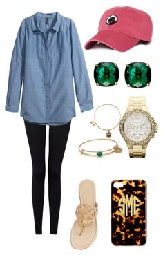 """""""Themakeupbydanielle Inspired"""" by lalalanie ❤ liked on Polyvore featuring Forever 21, H&M, Kate Spade, MICHAEL Michael Kors, Alex and Ani and Tory Burch"""
