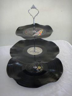 3 Tier Cup Cake Stand Vintage Retro Vinyl Record by myEroom, arts-photos 3 Tier Cupcake Stand, Tiered Stand, Vintage Tea, Retro Vintage, Rock And Roll, Vintage Cake Stands, Rockabilly Wedding, Company Picnic, Vintage Vinyl Records