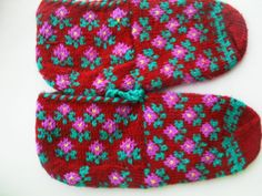 Your place to buy and sell all things handmade Red Slippers, Crochet Slippers, Womens Slippers, Fair Isle Knitting, Knitting Socks, Hand Knitting, Custom Checks, Warm Socks, Baby Knitting Patterns