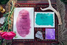 Mystical bohemian watercolor wedding invitations | Paula Bartosiewicz Photography | see more on: http://burnettsboards.com/2014/05/bohemian-gemstone-shoot-diy-elements/