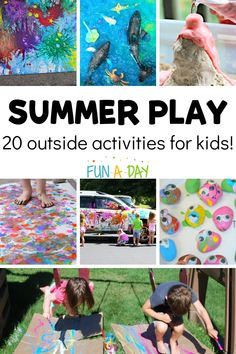 We love using the warm weather of summer as an excuse to get messy! Explore 20 fun outside play ideas for kids this summer. Outside Activities For Kids, Camping Crafts For Kids, Summer Crafts For Kids, Summer Kids, Bubble Activities, Summer Preschool Activities, Infant Activities, Preschool Classroom, Messy Play