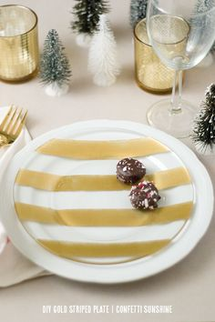 diy gold striped plate