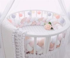 2 Meter Long Baby Bed Bumper Plush Baby Crib Protector For Newborns Baby Baby Bedroom, Baby Room Decor, Nursery Decor, Girl Nursery, Baby Bumper, Cot Bumper, Knot Cushion, Knot Pillow, Diy Tresses