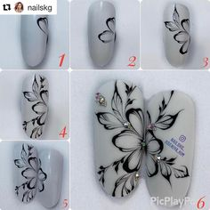 Excellent simple ideas for your inspiration Tulip Nails, Flower Nails, Diy Nails, Cute Nails, Swirl Nail Art, Nail Drawing, Nail Techniques, Butterfly Nail Art, Painted Nail Art