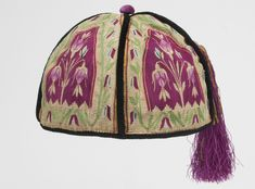 Man's smoking cap | Probably made in Turkey, Asia, circa 1870's | Multicolored cotton, wool, and metal-wrapped thread tapestry weave; silk velvet; cotton and metal-wrapped thread tassel | Philadelphia Museum of Art