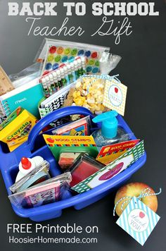 First Day of School Teacher Gift with Printables :: Treat the teacher to a container full of supplies and add these cute printables! Available on HoosierHomemade.com