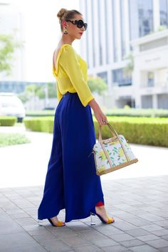 Outfit of the day wearing yellow + royal blue :: Sophie's Silhouette