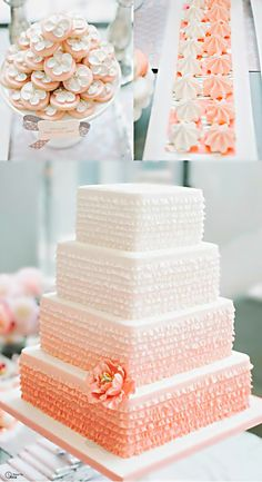 Peachy Coral Wedding Desserts- for more great #wedding color inspiration visit http://www.brides-book.com