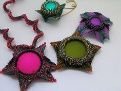 My geometric beadwork pendants