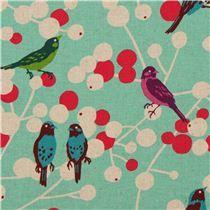 Tela cherry de echino, lienzo turquesa con pájaros y bayas