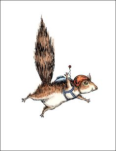 Skydiver Squirrel individual card by SugarBeetPress on Etsy, $3.50
