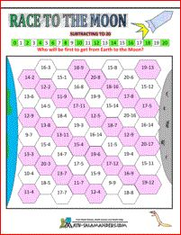 Race to the Moon - Subtracting to 20. This subtraction game will help you to learn your subtraction facts to 20
