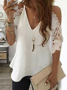 Vintage Lace Half Sleeve Plain V Neck Plus Size Casual Tops Boho Summer Dresses, Summer Dresses For Women, Summer Outfits, Casual T Shirts, Casual Tops, Over 50 Womens Fashion, Women's Fashion, Plus Size Casual, White Women