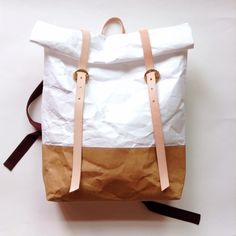Backpack : Tyvek and Kraft paper bag,travel beach bag,washable,lightweight and eco friendly