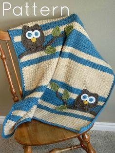PATTERN Owl Baby Blanket Crochet Pattern Instant Download Bonus Lovey Size…