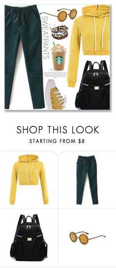 """Comfort is Key: Sweatpants (Sporty Style)"" by jecakns ❤ liked on Polyvore featuring BackToSchool, sporty, sweatpants, pants and hoodie"