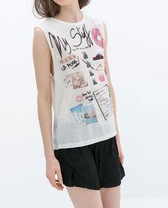 """My Stuff T-shirt from Zara"". I have no idea. but it's neat looking. Zara Official Website, Tank Tops, Tees, T Shirt, Women, Illustration, Fashion, T Shirts, Supreme T Shirt"
