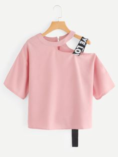 Shop Keyhole Back Cut Out Blouse online. SheIn offers Keyhole Back Cut Out Blouse & more to fit your fashionable needs. Girls Fashion Clothes, Teen Fashion Outfits, Mode Outfits, Cute Fashion, Girl Outfits, Fashion Dresses, Clothes For Women, Style Fashion, Crop Top Outfits