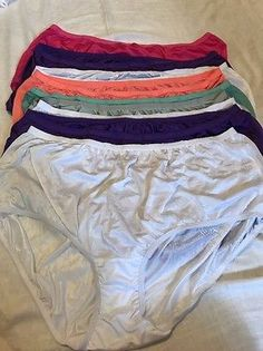 252958a04 Comfort Choice 9 Pairs NYLON Brief Panties Underwear Plus Size 13 NEW