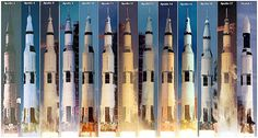 And for reference, here are all 13 of the Saturn V missions. Notice how the last Saturn V that flew is missing the escape launch system at top. That's because it wasn't carrying humans but rather payloads for Skylab, the first space station.