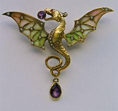 MEYLE & MAYER Jugendstil Dragon Brooch Gilded silver Plique-à-jour enamel Amethyst Pearl Marks: Depose '900' & Dragonfly German, c.1900