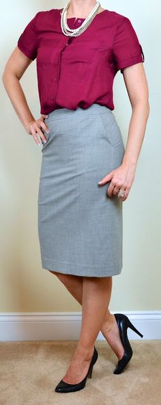 Outfit Posts: outfit post: burgundy camp shirt, grey pencil skirt, black heels