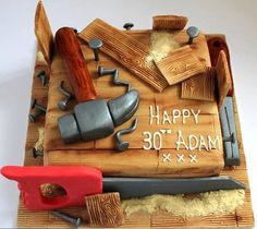 Carpentry themed cake by Pauls Creative Cakes Pretty Cakes, Cute Cakes, Beautiful Cakes, Amazing Cakes, Birthday Cakes For Men, Cake Birthday, Cake Cookies, Cupcake Cakes, Dad Cake