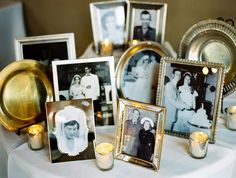 Love this idea of having your family's (parents) wedding pictures in pretty frames at a special table with candle lights