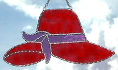 """Red Hat Stained Glass Suncatcher- 4 1/2"""" x 8"""" - $16.95  - Handcrafted Stained Glass Designs  - Handcrafted Stained Glass Designs  - Glass Suncatchers, Stained Glass Décor, Stained Glass Sun Catchers -  Stained Glass Design   * More at www.AccentOnGlass.com"""